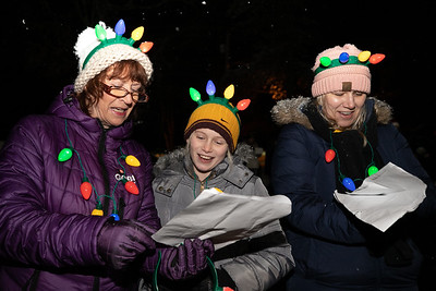 Lexi Dunlap (center) of Saxonburg sings with her mother Jodi Dunlap, grandmother Valerie Paganelli and other carolers at Concordia Thursday. Around 60 or more volunteers spread some holiday cheer to residents watching and listening from their windows at the senior facility. Seb Foltz/Butler Eagle 12/17/20