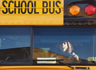 Harold Aughton/Butler Eagle: For the most part, nearly all of the bus drivers were wearing mask; however, a few were not during the first day of school at the Mars Middle School Tuesday, September 8, 2020.