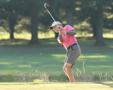 Jeremy Plaisted hits from the rough after taking a penalty stroke during Sunday's Butler Eagle Amateur playoff against Geoff Patterson. The Butler residents finished the round tied at 69. Seb Foltz/Butler Eagle Aug. 2020 Lake Arthur GC
