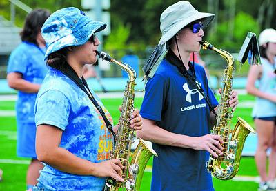 Dorothy Vogel, 16, and Lucas Chvilicek, 15, play saxophone at Seneca Valley Marching Band's band camp. Photo: Julia Maruca / Butler EagleSV trumpets.JPG