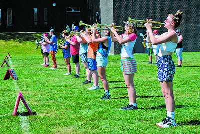 """Student musicians practice their field show during band camp for the Slippery Rock High School """"Rocket"""" Marching Band. Photo: Julia Maruca / Butler Eagle"""