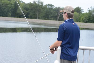 Chris Richards fishes off a pier at Glade Run Lake. Julia Maruca / Butler Eagle