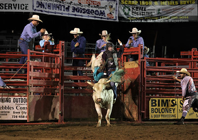 Jamie Griswold comes out of the gate in Tuesday night's bull riding competition at the North Washington Rodeo. The annual event runs through Saturday, Aug. 21. Seb Foltz/Butler Eagle 08/17/21