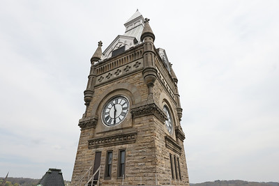 Butler County Court House clock tower viewed from the roof. Seb Foltz/Butler Eagle April 2021