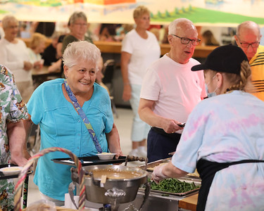 Ruth Nickle of Butler waits to be served at Tanglewood Wednesday. Seb Foltz/Butler Eagle 08/04/21