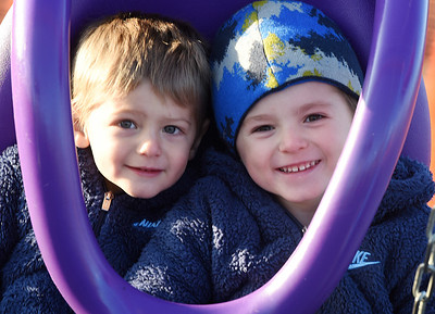 Brothers Zach Miller, 2, and Luke Miller, 4, spent Thursday afternoon playing at the Adams Twp. Community Park with their mother, Jennifer Miller. Thursday, December 10, 2020. Harold Aughton/Butler Eagle.
