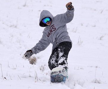 Anna Sukitch,22, of Cranberry snowboards down a hill at Cranberry Township Community Park Tuesday. Seb Foltz/Butler Eagle