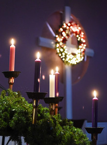 Parishioners at the Saxonburg Memorial Presbyterian Church setup the church's Advent candles in preparation for the upcoming Christmas season Friday, November 27, 2020. Harold Aughton/Butler Eagle