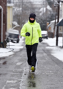 Tim Monfre, 61, of Butler goes out for his morning run Monday morning, February, 15, 2021.  Harold Aughton/Butler Eagle.
