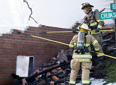 Firefighters responded to a garage fire along Bicker Road in Winfield Township Thursday, February 25, 2021. Harold Aughton/Butler Eagle.