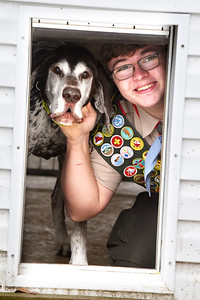Boy Scout Adam Kennihan of Troop 58 in Cooperstown built a kennel for the Butler County Sherriff's service dog, Bullet, a 10-year-old German Shorthair pointer. Harold Aughton/Butler Eagle.
