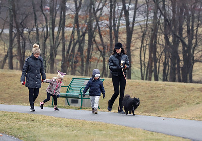 Brooke Farrell of Adams Township(left) and her daughter Addie, 4, go for a walk with Farrell's friend Hannah Adler(right), her son Kaiser Reges, 4, and her dog Calvin in Adams Township Community Park Tuesday. Seb Foltz/Butler Eagle 01/26/21