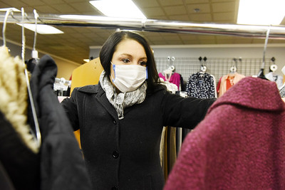 Aliza Abrams of Cabot looks for everyday clothes at Dress for Success in Butler. Harold Aughton/Butler Eagle.