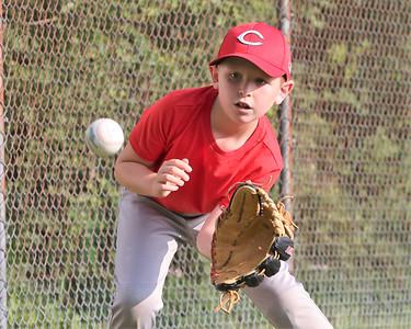 Brayden Gelles, 8, catches a ball during Center Township rec allstar team practice Tuesday. Seb Foltz/Butler Eagle 07/14/21