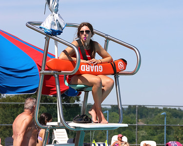 Rylie Smith, 17, sits guard at the diving pit of the Cranberry Community Waterpark at North Boundary Park. Seb Foltz/Butler Eagle 06/24/21