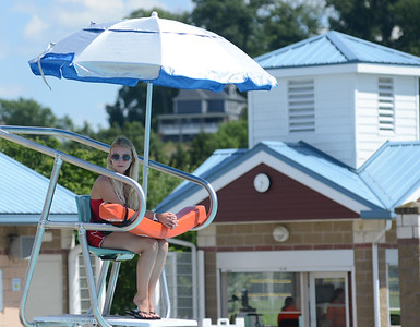 """Olivia Crunick, 18, of Cranberry, has been a lifeguard at Cranberry Township Community Waterpark for the past four years. She says that the water park """"always has new kids coming every year"""" to work as lifeguards. PHOTO: JULIA MARUCA"""