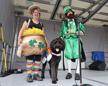 Lisa and Steve Fowler with their golden doodle Jazmin took home the best dressed prize at the  Zelienople Horse Trading Days' dog show Saturday. Seb Foltz/Butler Eagle 07/17/21