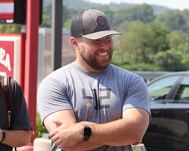 Pirates pitcher David Bednar smiles during a visit to the Adams Township fire department Tuesday, part of a meet-and-greet tour with area first responders. Seb Foltz/Butler Eagle 07/27/21