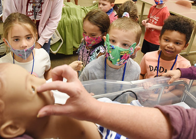 Children taking part in the Super Hero's activity had the opportunity to visit the nursing lab at Butler County Community College's Kids on Campus summer program Tuesday afternoon. Harold Aughton/Butler Eagle.