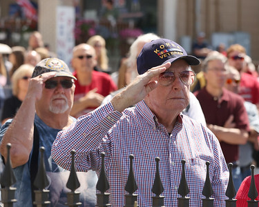 Veterans salute during Chicora's Memorial Day ceremony. Seb Foltz/Butler Eagle 05/31/21