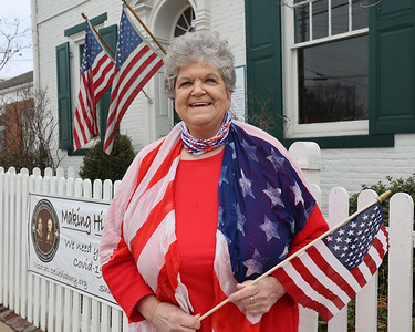 Zelienople Historical Society event organizer Adel Fatur stands outside the goup's Passavant House. Seb Foltz/Butler Eagle 02/26/21 (4th of July Porch Decorations)