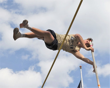 Butler's Tristan McGarrah competes in the pole vault in Friday's Butler Track and Field Invitational. McGarrah finished second, clearing 13 feet, 7 inches. Seb Foltz/Butler 04/23/21