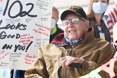 WW II veteran, John Mahler celebrated his 102 birthday with a drive-thru parade in his honor at the Butler VA, Thursday, November 12, 2020. Harold Aughton/Butler Eagle