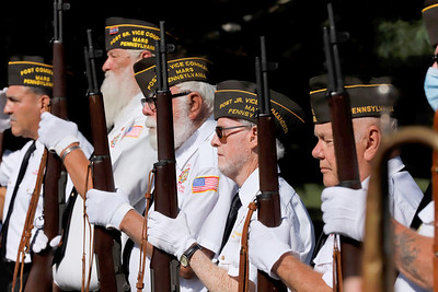 Members of American Legion Post 7505 Mars VFW stand at attention during Saturday's Veterans' Memorial Dedication at Glade Run Cemetary. Seb Foltz/Butler Eagle. 09/26/20