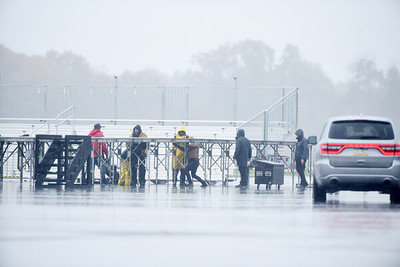 Workers prepare the stage for President Trump's campaign stop at the Butler County airport. Harold Aughton/Butler Eagle.