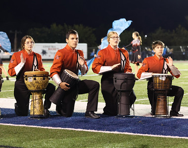 Members of the Slippery Rock High School Band percussion section perform at the Butler County Band Festival Wednesday. Seb Foltz/Butler Eagle 09/29/21