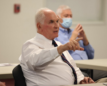 Rep. Mike Kelly poses a question during a discussion and information session on Cleveland Cliffs high grade steel manufacture. Seb Foltz/Butler Eagle 09/08/21