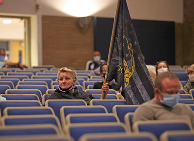 Christine Schumacher of Jefferson Township sits in Wednesday night's Knoch School Board session where concerned parents and family members voiced concerns over state-wide mask mandates imposed by governor Wolf. Seb Foltz/Butler Eagle 09/08/21