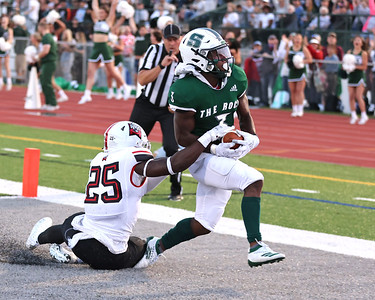 Slippery Rock's Cinque Sweeting scores the games opening touchdown on a reception against East Stroudsburg Saturday. Slippery Rock won at home 22-7  Seb Foltz/Butler Eagle 09/11/21