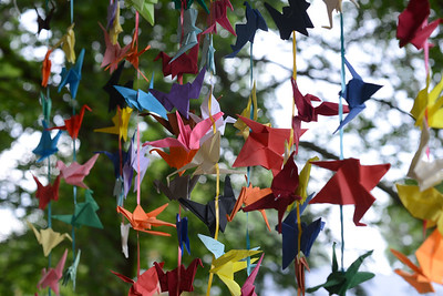 1,000 paper cranes that were created by the community as part of a memorial for rotary members Tom and Marie Grant, who died in 2020, were hung as part of a Peace Day ceremony in Zelienople Community Park. Julia Maruca/Butler Eagle