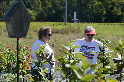 Karen Faust, a member of the Southern Butler County Garden Club, tells visitor Joyce Phillis about the plants that the club cultivates in the community garden. Julia Maruca/Butler Eagle