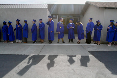 The Prospect High School class of 2016 lines up as they prepare to enter their graduation ceremony June 8, 2016 at Prospect High School in Oroville, Calif. (Emily Bertolino -- Mercury Register)