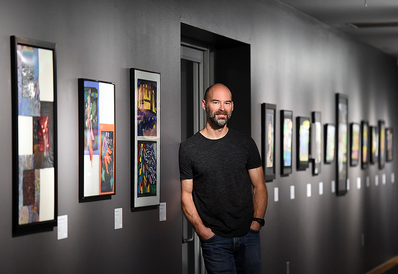 Eric Franklin, exhibits preparator for the Loveland Museum Gallery, poses for a photo Thursday, April 4, 2019, in the main gallery at the museum in downtown Loveland.    (Photo by Jenny Sparks/Loveland Reporter-Herald)