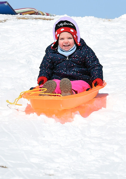 Avry Kennedy (cq) of Loveland, 2, is all bundled up as she sleds down a hill Monday, March 4, 2019, at Mehaffey Park in west Loveland. Avry's grandparents Scott and Debbie Guinn decided to brave the cold temperatures and get outside for some fun and sledding.  (Photo by Jenny Sparks/Loveland Reporter-Herald)