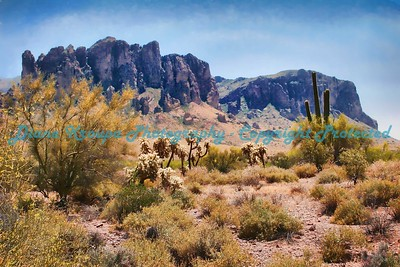 Superstition Mountain, home of the Lost Dutchman Mine, Apache Junction, Arizona. Photo #855