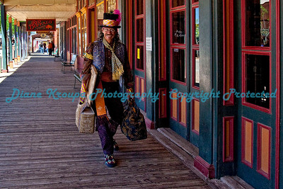 Snake Oil Salesman walking down the boardwalk in Tombstone, Arizona.  Photo #TS-530