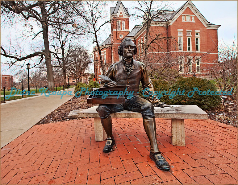 Thomas Jefferson statue at Missouri University, commons, Columbia, MO.  Photo# TJ777