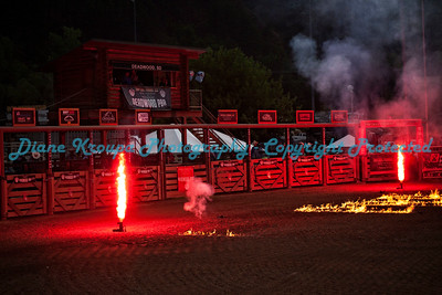This is the Deadwood, South Dakota, rodeo arena with fireworks and flares ready for the grand entrance of the bull riders - June 2018.