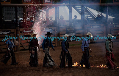 Bull Riders entering arena for introduction with fireworks.  Photo #249