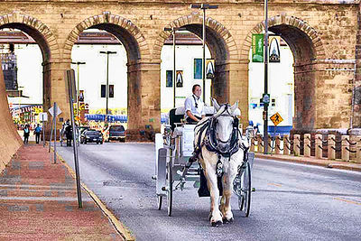 Card #124 - Horse and Carriage - Laclede's Landing, St. Louis, MO.