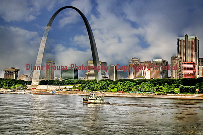 Gateway Arch - looking west to St. Louis.  Photo# 502