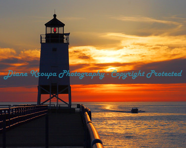 Charlevoix light at sunset, Charlevoix, Michigan. Photo #402