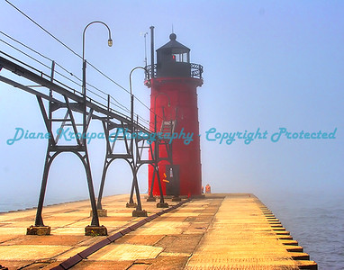 South Haven light with thick fog, South Haven, Michigan. Photo #404