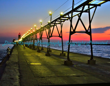 Grand Haven light at rainbow sunset, Grand Haven, Michigan. Photo #403