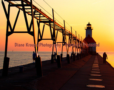 St. Joseph Light at sunset, St. Joseph, Michigan.  Photo #406-a