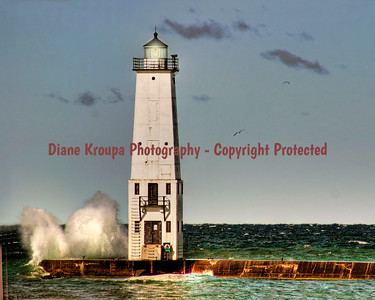 Frankfort Light with big waves, Frankfort, Michigan. Photo #807